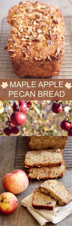 Maple Apple Pecan Bread - a yummy fall quick bread recipe! #mapleapple #quickbread #fallrecipes