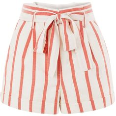 Topshop Stripe Paper Bag Shorts (€32) ❤ liked on Polyvore featuring shorts, topshop, bottoms, red, striped shorts, paper bag shorts, tie-dye shorts, red striped shorts and red shorts