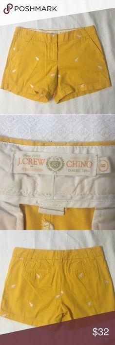 J. Crew Elephant Yellow and White Chino Shorts J. Crew • Chino Shorts • Size 6 • Yellow and White Elephant print • Worn twice and washed J. Crew Shorts