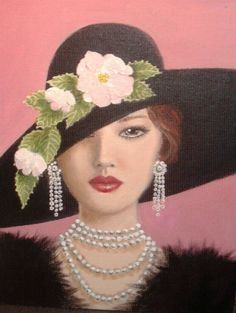 a fantasy lady. Original acrylic painting on canvas, 9'x12'.......I prefer to create lady portraits from bits and pieces of memories, photos and fashionable accessories. I think that this creates an aura of mystery and tells a story.  I would much ...