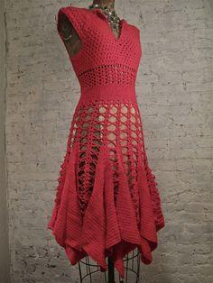 60s Crochet Dress  RED  Hand Made by ChelseaGirlNYC on Etsy, $75.00