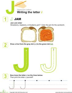 Worksheets: J is for Jam! Practice Writing the Letter J