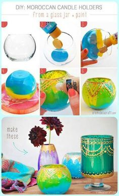 Diy Moroccan candle holders. Pretty.