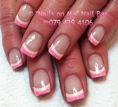 Pink and white double french gel nails