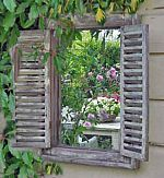 Wooden Shuttered Window Mirror, French Grey