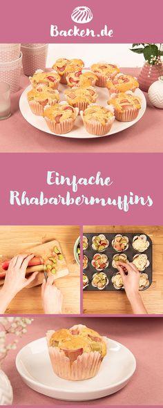 Wir zeigen euch, wie ihr einfache Muffins mit Rhabarber zaubern könnt. Als Snack für Zwischendurch oder für die Kaffeerunde am Nachmittag. Cupcakes, Snacks, Camembert Cheese, Dairy, Desserts, Food, Rhubarb Muffins, Strawberries, Waffles