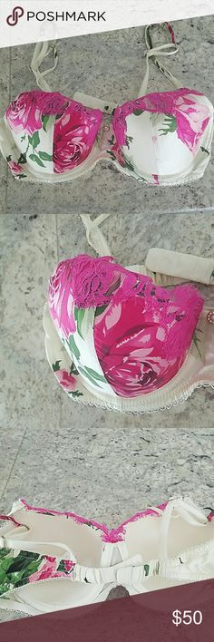 BADGLEY MISCHKA PINK SATIN FLORAL BRA 36C NWOT Underwire  Molded cups  Adjustable straps  Purchased and never wore  36 C  Enjoy! Badgley Mischka Intimates & Sleepwear Bras