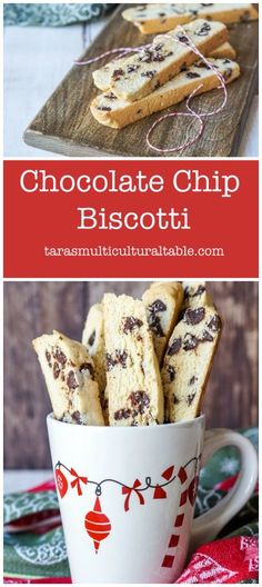 Chocolate Chip Biscotti - Tara's Multicultural Table Recipe for Chocolate Chip Biscotti. This twice-baked cookie is studded with semi-sweet chocolate chips and perfect for pairing with coffee or hot chocolate. Yummy Recipes, Baking Recipes, Cookie Recipes, Dessert Recipes, Yummy Food, Chocolate Chip Cookies, Semi Sweet Chocolate Chips, Biscotti Recipe Chocolate Chip, Christmas Biscotti Recipe