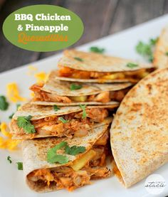 BBQ Chicken & Pineapple Quesadillas - love the sweet and spicy combo! So easy to make and tastes delish.