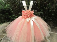 CORAL IVORY FLOWERS, tutu dress, birthday tutu dress, flower girl gown, photo shoot tutu dress.  Bodice of dress is a stretchy waffle/crochet style top and it stretches to 22 inches. I have hand sewn