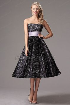 Flattering Strapless Lace Tea Length Formal Dress (X04145106) list price: $126.73 sale price: $82.37