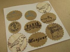 Hand Stamped Vintage Style StickersEnvelope by sugarbsupplies, $4.50