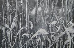 Original Moon Botanical Hedgerow Tree Landscape Monotype 4 x