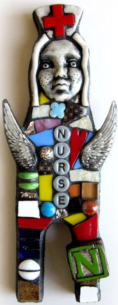 Angel Nurse.  Handmade Original Mixed Media Mosaic Art Doll