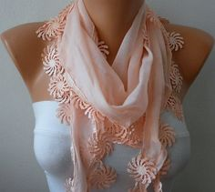WAS  15  NOW  USD 11  Salmon  Scarf   Cotton  Scarf  by fatwoman, $11.00