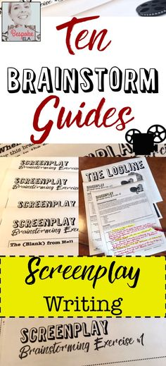 In this creative project by Bespoke ELA, students will create a screenplay project using these TEN BRAINSTORMING guides.  Creative writing project to target the Common Core in secondary English Language Arts.  Middle School & High School.