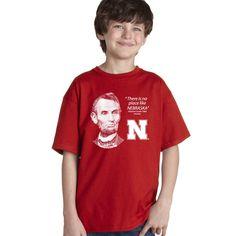 "Abe Lincoln ""No place like NEBRASKA"" Huskers Youth Boys Tee Shirt"