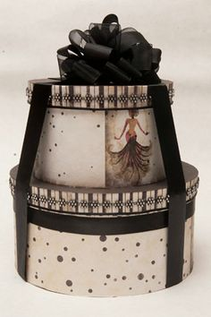 Burlesque Hat Boxes - I have a couple scratched-up hat boxes that could be re-done Vintage Hat Boxes, Shabby, Pretty Box, Nesting Boxes, Altered Boxes, Love Hat, Tin Boxes, Hat Pins, Trinket Boxes