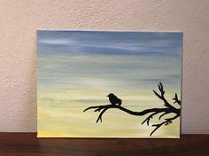 Bird Silhouette Tree Acrylic Painting / Handmade / Gift / 9x12 / Leigh's Art Shop/ Gifts for Teacher