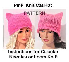 Pussycat hat Pattern Pink Cat Hat Pattern 2 Patterns by TiStephani Knit Crochet, Crochet Hats, Knit Hats, Pink Cat Hat, Funky Hats, Knitted Cat, Knit Patterns, Sewing Patterns, Loom Knitting