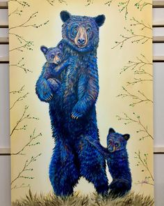 Grandma Bear is a contemporary wildlife painting of a grandma black bear & her two grand cubs. View more Fine Art Prints on TeshiaArt Collection. Buffalo Painting, Fox Painting, Feather Painting, Bear Paintings, Wildlife Paintings, Wildlife Art, Afrique Art, Colorful Elephant, Bear Art