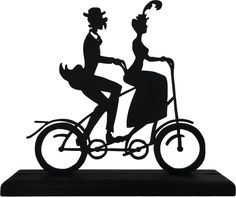 Victorian Tandem Bicycle Couple Decorative Wood Display Silhouette