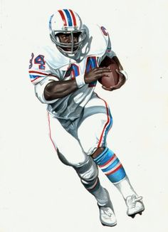 """Earl Campbell, """"The Tyler Rose"""" Houston Oilers. Painting by Dan Tearle"""