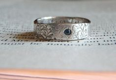 rustic sapphire wedding band  recycled silver by peacesofindigo, $128.00