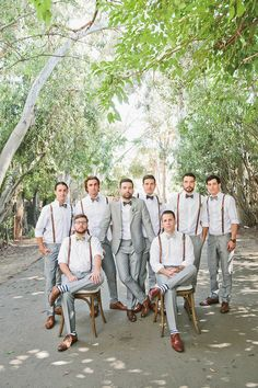 Bohemian Malibu wedding: Groom and groomsmen in suspenders and gray Groomsmen Outfits, Groom And Groomsmen Attire, Bridesmaids And Groomsmen, Grey Suit Groom, Groom Outfit, Bride Groom, Gray Groomsmen Suits, Gray Suits, Bow Tie Groom