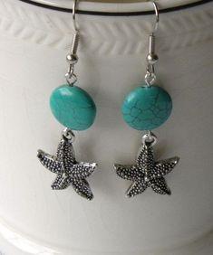 Seaside Handmade Beaded Earrings Turquoise by bdzzledbeadedjewelry, $17.00 #handmadejewelry
