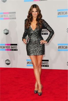 Stana Katic at the 2010 American Music Awards at the Nokia Theatre L.A. on November 21, 2010