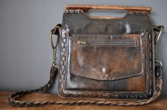 Vintage Brown Leather Hand Bag  Purse in Faded by DelfinDesign,