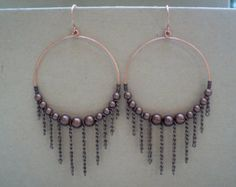 copper beaded hoop errings - Google Search
