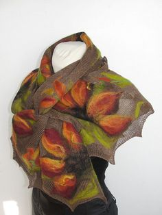 SPRING SCARF,  SHAWL,   knit, felted  multicolor flowers -  spring  collection- 2012 gIFT. $71.00, via Etsy.