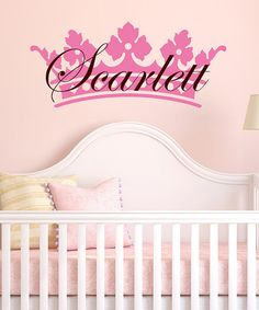 Take a look at this Light Pink & Brown Crown Personalized Wall Decal Set by DecorDesigns on #zulily today!