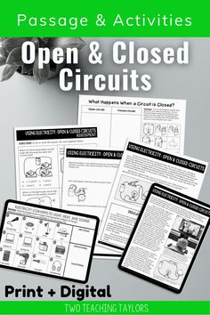 Electrical circuits are a student favorite. They love knowing how electricity makes devices work. Use this set of activities for you next lesson plan. Includes reading passage, sorting activity and a quiz for assessment. Perfect for kids in 4th grade and 5th grade science. 5th Grade Science, Science Student, Elementary Science, Thermal Energy, Sorting Activities, Comprehension Questions, Reading Passages, Circuits, 5th Grades
