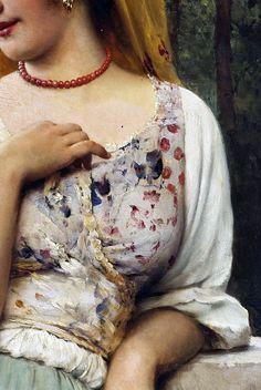 (Detail) A Pensive Beauty, Eugene de Blaas. Italian (1843 - 1931)