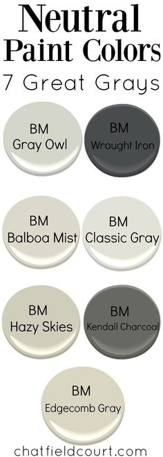 There's so many grays to choose from, but here are my 7 great gray paint colors from Benjamin Moore.   http://chatfieldcourt.com