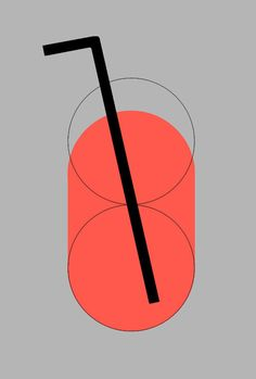 || yuki mori. Grey background with simple graphic with circles defining a cup or drink. Straw position sits off centre