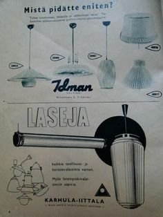 ' ad by Idman light factory and another one by Karhula-Iittala glass factory. Helsinki, Thunder, Ads, Lighting, Vintage, Clothes Line, Light Fixtures, Lights, Lightning