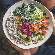Sweet Potato Sushi Bowl ↠ avocado ↠ lacinato kale ↠ sea beans ↠ kizami nori ↠ quinoa speckled rice ↠ roasted sweet potato ↠ sambal-marinated cucumbers ↠ yuzu sauce (yuzu juice + veganaise) ↠ sesame seeds ↠ hemp seeds ↠ sauerkraut ↠ lime juice (alwa...
