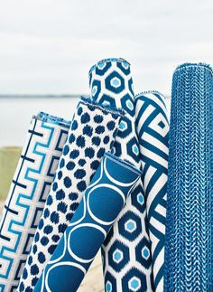 Thibaut has come out with a new collection of fabrics that we absolutely adore! With spring/summer right around the corner, these bright col. Sunbrella Fabric, Drapery Fabric, Pillow Fabric, Pillows, Coastal Fabric, Home Renovation, Textiles, Chelsea, Fabulous Fabrics