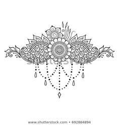 Mehndi flower pattern for Henna drawing and tattoo. Decoration in ethnic oriental, Indian style. Henna Patterns, Flower Patterns, Tattoo Patterns, Henna Tattoo Designs, Mehndi Designs, Tattoos Pulseras, Tattoo Painting, Henna Doodle, Tattoo Care Instructions