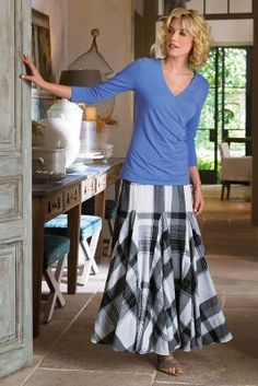 Plage de Plaid Skirt- Godets add romantic sweep and angled visual contrast to this soft cotton black-and-white plaid skirt | Soft Surroundings