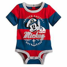 Mickey Mouse Nautical Disney Cuddly Bodysuit for Baby | Disney StoreMickey Mouse Nautical Disney Cuddly Bodysuit for Baby - Your nautical little nipper will be in safe hands with Captain Mickey at the helm of this Disney Cuddly Bodysuit. Waves of red and blue stripes wash over this shipshape cotton outfit that features embroidered Mickey artwork.