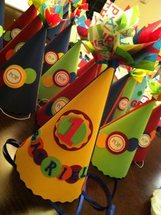 Handmade bubbles theme birthday hats.www.creationsbydanny.com