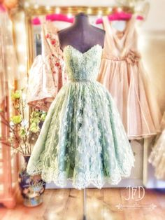 Joanne Fleming Design   Bryony  custom dyed mint green corded lace tea -length 5ca2902574ce
