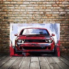 Car Art Red Line Dodge Challenger RT SRT Canvas Painting | Etsy
