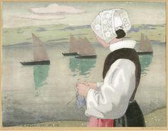 Femme tricotant face aux bateaux, Peinture de Carl Moser