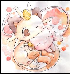 Mew and Meowth by ~Kidura on deviantART